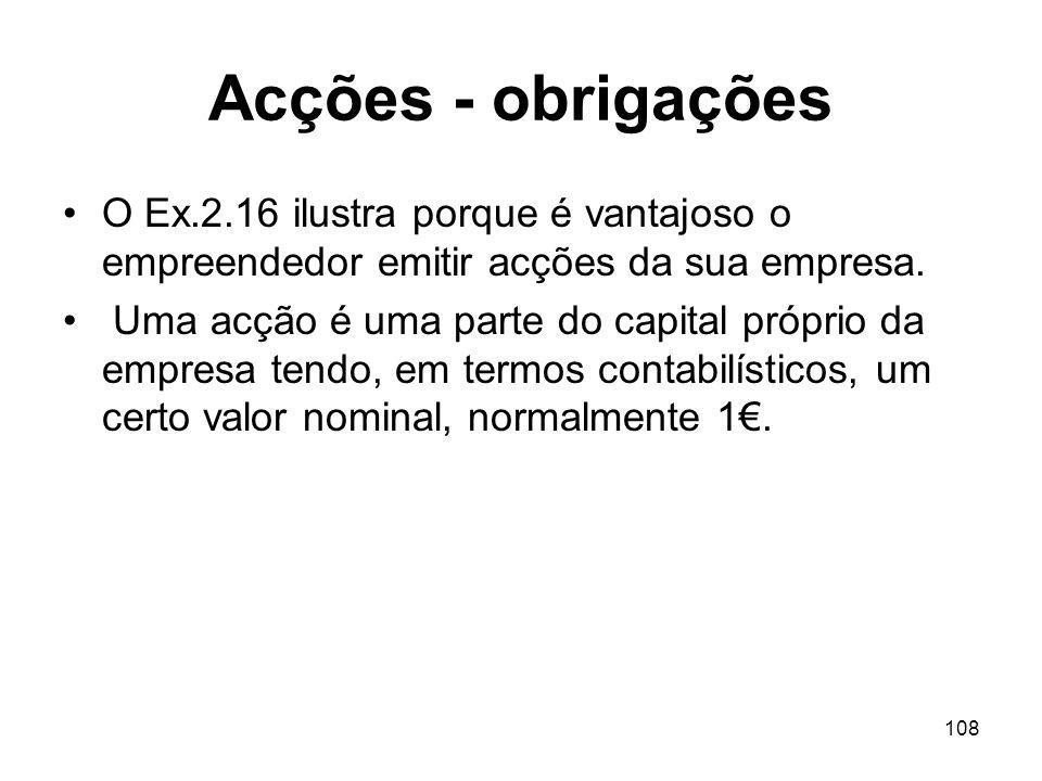 108 Acções - obrigações O Ex.2.16 ilustra porque é vantajoso o empreendedor emitir acções da sua empresa.
