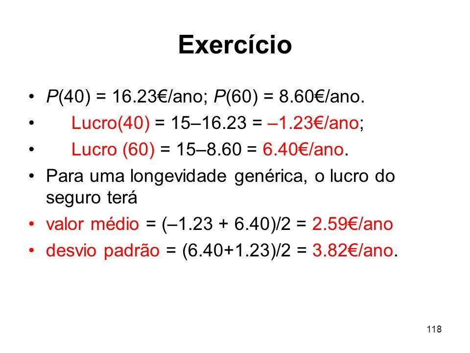 118 Exercício P(40) = 16.23/ano; P(60) = 8.60/ano.
