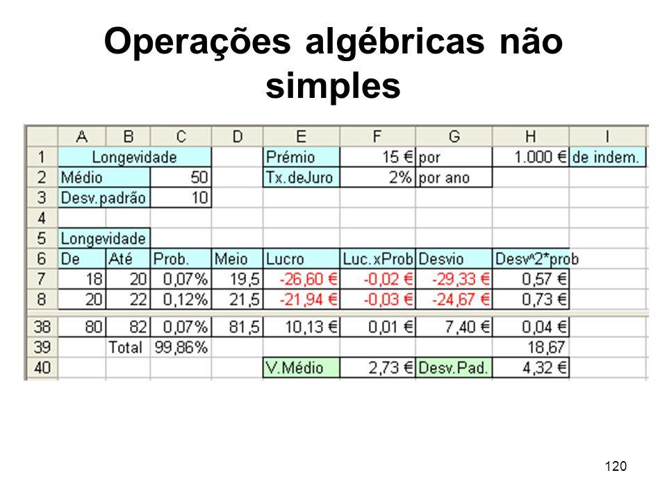 120 Operações algébricas não simples
