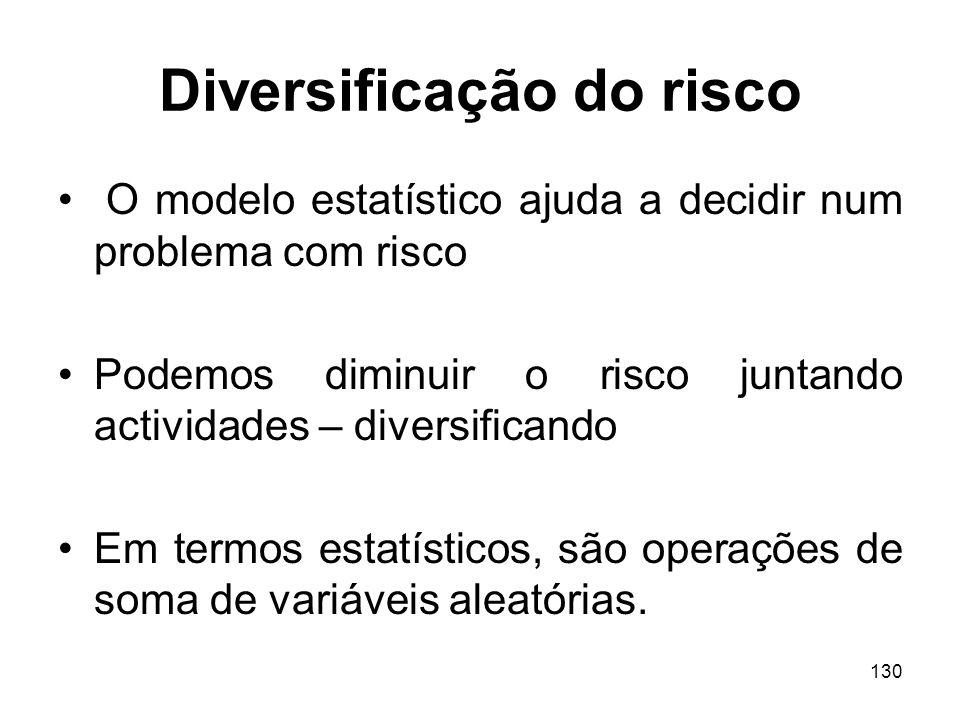 130 Diversificação do risco O modelo estatístico ajuda a decidir num problema com risco Podemos diminuir o risco juntando actividades – diversificando Em termos estatísticos, são operações de soma de variáveis aleatórias.