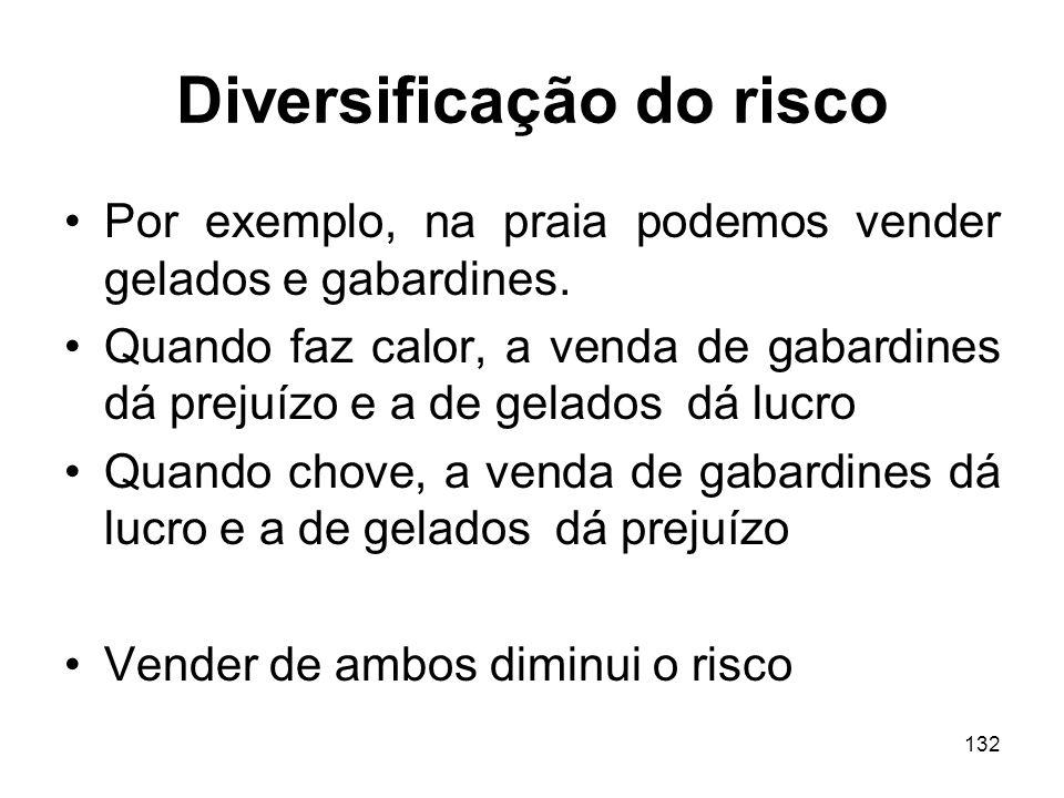 132 Diversificação do risco Por exemplo, na praia podemos vender gelados e gabardines.