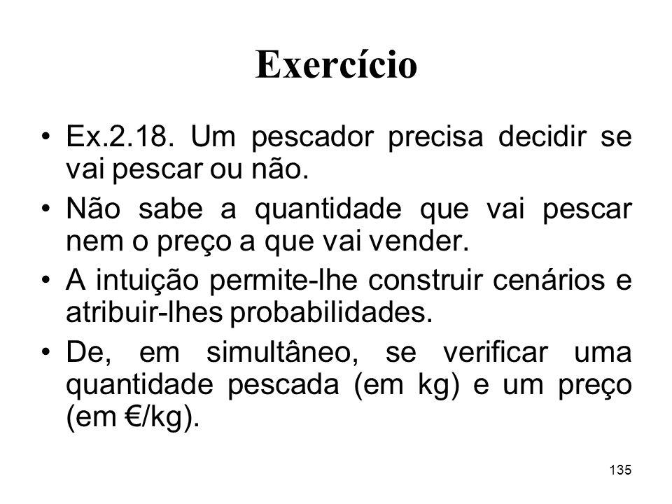 135 Exercício Ex.2.18.Um pescador precisa decidir se vai pescar ou não.