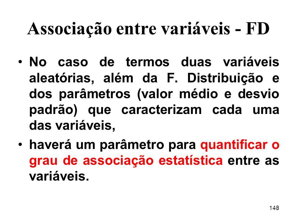 148 Associação entre variáveis - FD No caso de termos duas variáveis aleatórias, além da F.