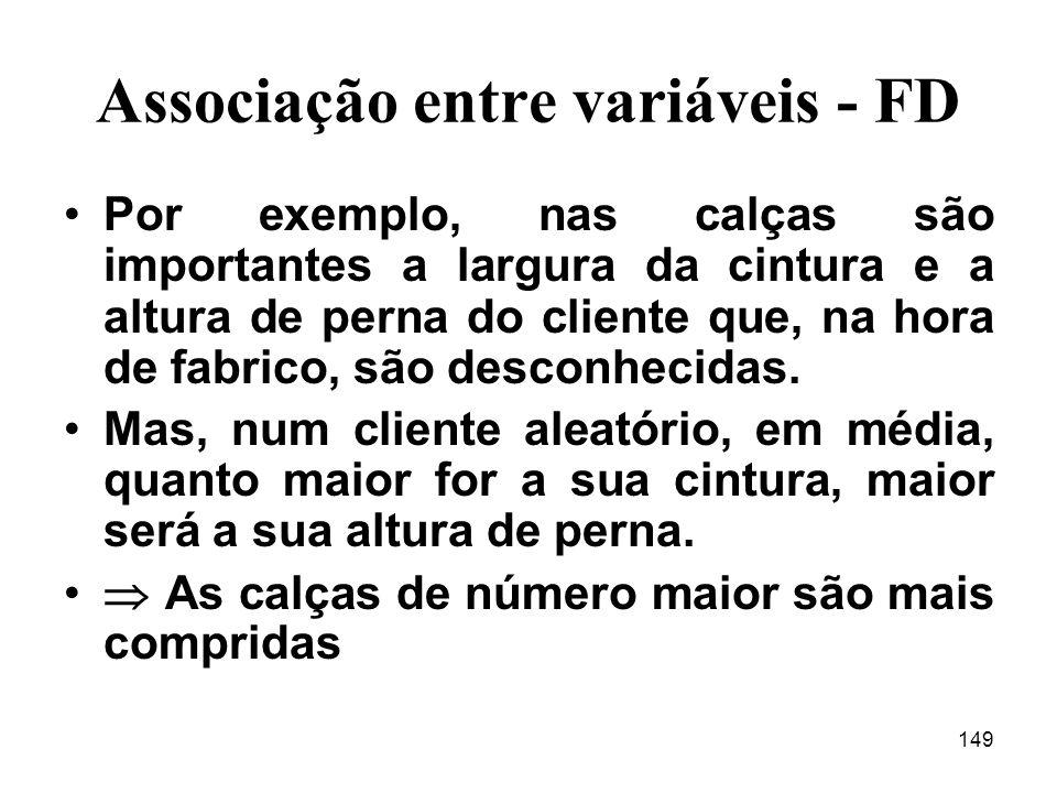 149 Associação entre variáveis - FD Por exemplo, nas calças são importantes a largura da cintura e a altura de perna do cliente que, na hora de fabrico, são desconhecidas.