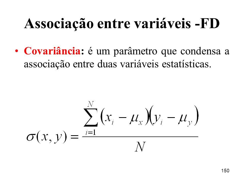150 Associação entre variáveis -FD Covariância: é um parâmetro que condensa a associação entre duas variáveis estatísticas.