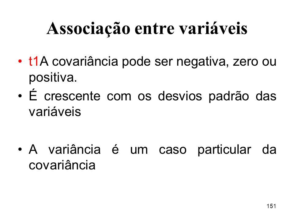 151 Associação entre variáveis t1A covariância pode ser negativa, zero ou positiva.
