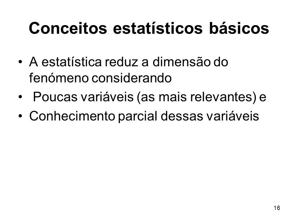 16 Conceitos estatísticos básicos A estatística reduz a dimensão do fenómeno considerando Poucas variáveis (as mais relevantes) e Conhecimento parcial dessas variáveis