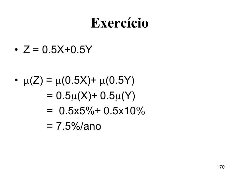 170 Exercício Z = 0.5X+0.5Y (Z) = (0.5X)+ (0.5Y) = 0.5 (X)+ 0.5 (Y) = 0.5x5%+ 0.5x10% = 7.5%/ano