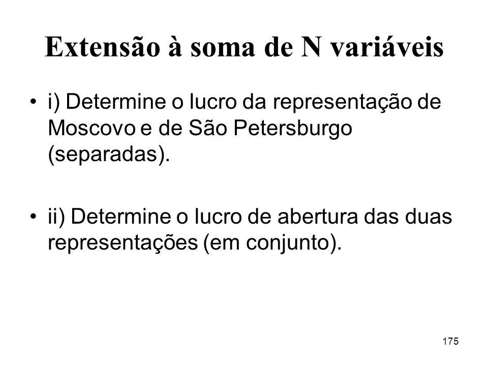 175 Extensão à soma de N variáveis i) Determine o lucro da representação de Moscovo e de São Petersburgo (separadas).