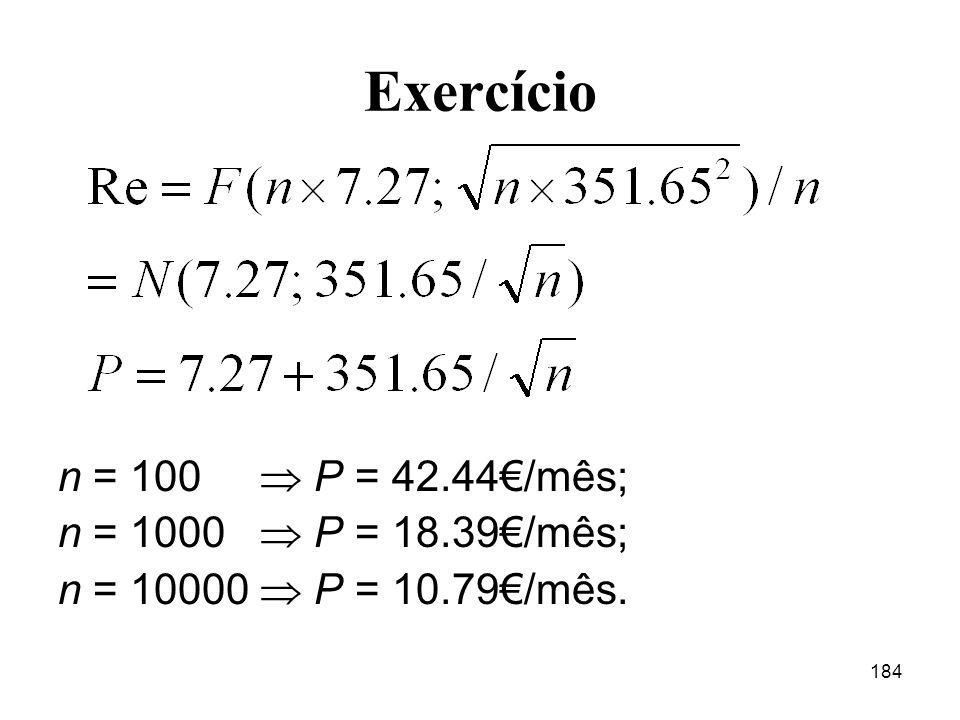 184 Exercício n = 100 P = 42.44/mês; n = 1000 P = 18.39/mês; n = 10000 P = 10.79/mês.
