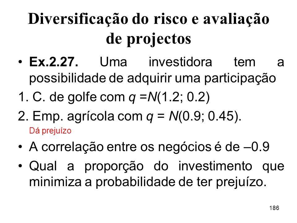 186 Diversificação do risco e avaliação de projectos Ex.2.27.