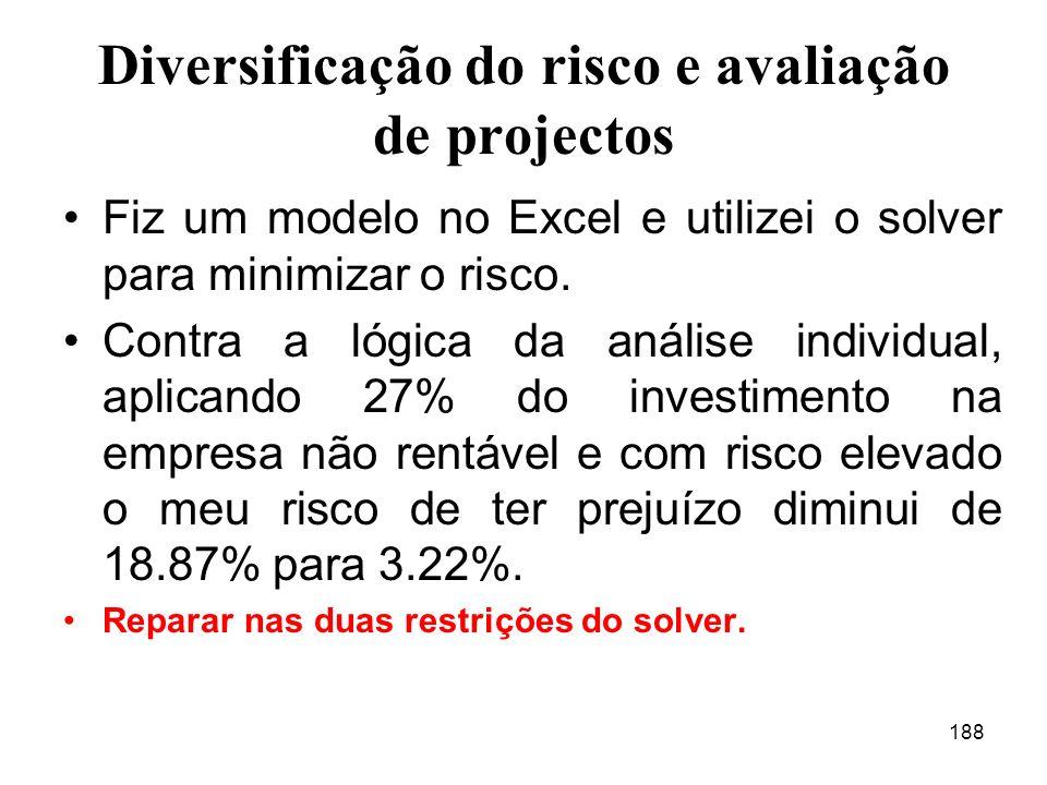 188 Diversificação do risco e avaliação de projectos Fiz um modelo no Excel e utilizei o solver para minimizar o risco.