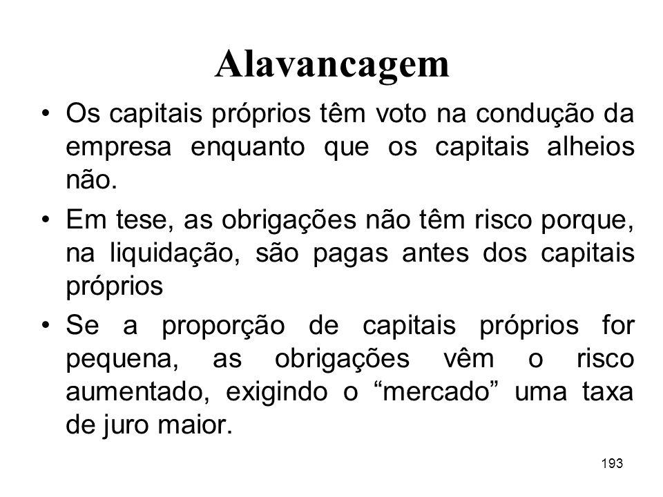 193 Alavancagem Os capitais próprios têm voto na condução da empresa enquanto que os capitais alheios não.