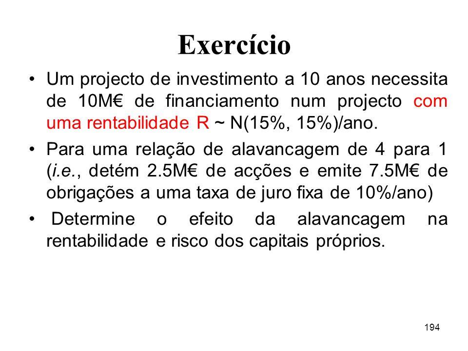 194 Exercício Um projecto de investimento a 10 anos necessita de 10M de financiamento num projecto com uma rentabilidade R ~ N(15%, 15%)/ano.