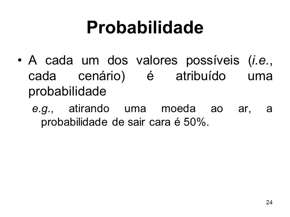 24 Probabilidade A cada um dos valores possíveis (i.e., cada cenário) é atribuído uma probabilidade e.g., atirando uma moeda ao ar, a probabilidade de sair cara é 50%.