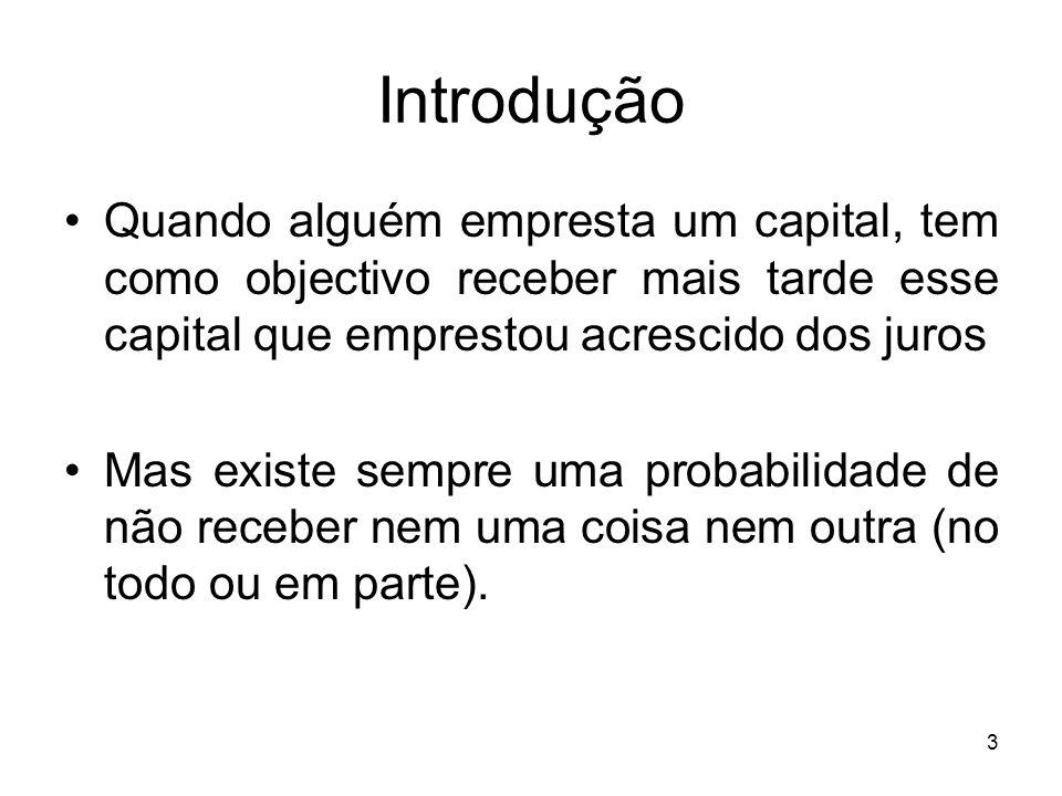 3 Introdução Quando alguém empresta um capital, tem como objectivo receber mais tarde esse capital que emprestou acrescido dos juros Mas existe sempre uma probabilidade de não receber nem uma coisa nem outra (no todo ou em parte).