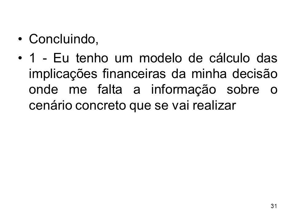 31 Concluindo, 1 - Eu tenho um modelo de cálculo das implicações financeiras da minha decisão onde me falta a informação sobre o cenário concreto que se vai realizar