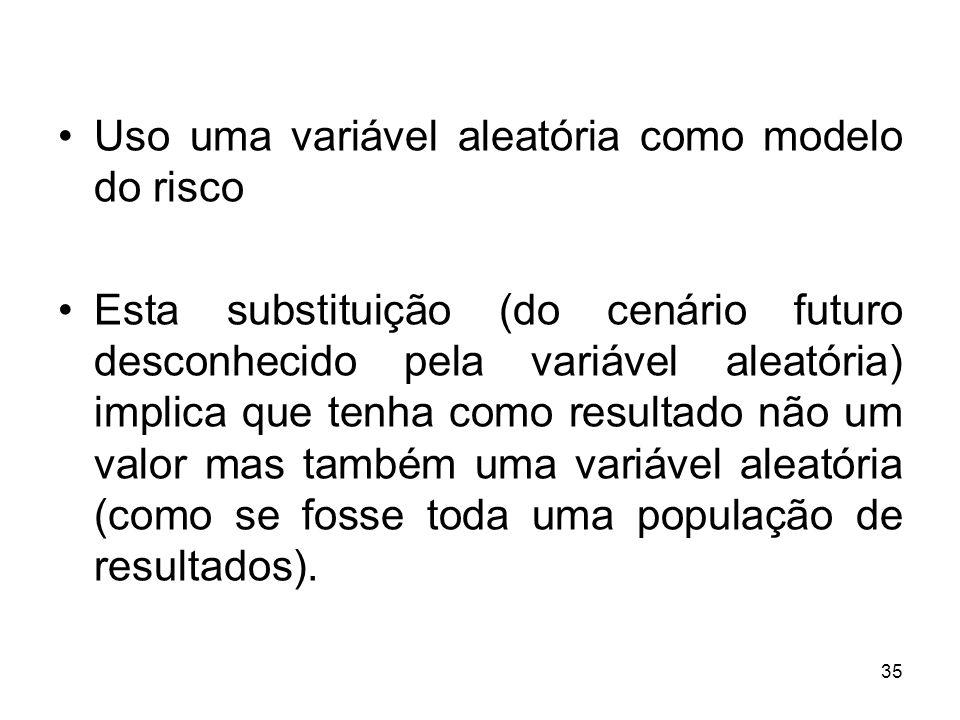 35 Uso uma variável aleatória como modelo do risco Esta substituição (do cenário futuro desconhecido pela variável aleatória) implica que tenha como resultado não um valor mas também uma variável aleatória (como se fosse toda uma população de resultados).