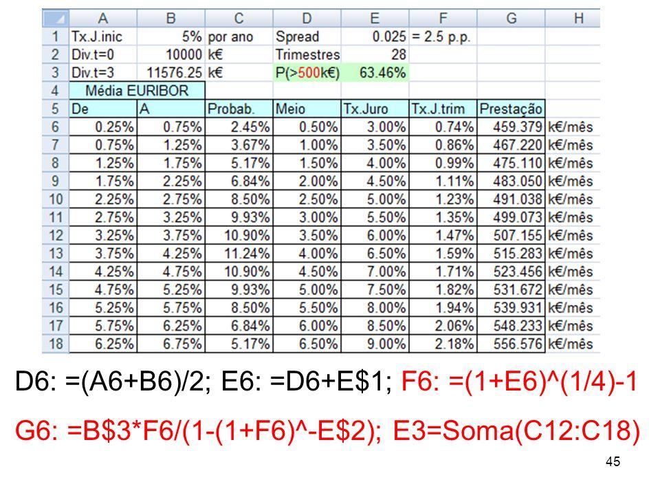 45 D6: =(A6+B6)/2; E6: =D6+E$1; F6: =(1+E6)^(1/4)-1 G6: =B$3*F6/(1-(1+F6)^-E$2); E3=Soma(C12:C18)