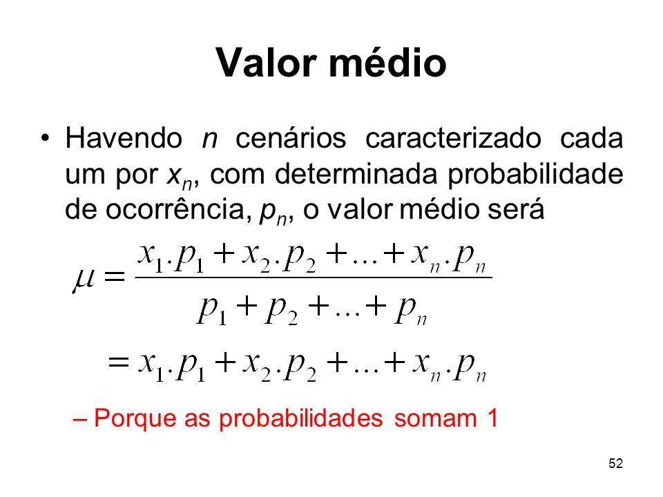 52 Valor médio Havendo n cenários caracterizado cada um por x n, com determinada probabilidade de ocorrência, p n, o valor médio será –Porque as probabilidades somam 1