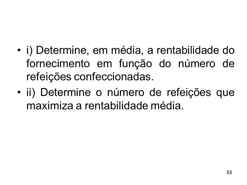 55 i) Determine, em média, a rentabilidade do fornecimento em função do número de refeições confeccionadas.