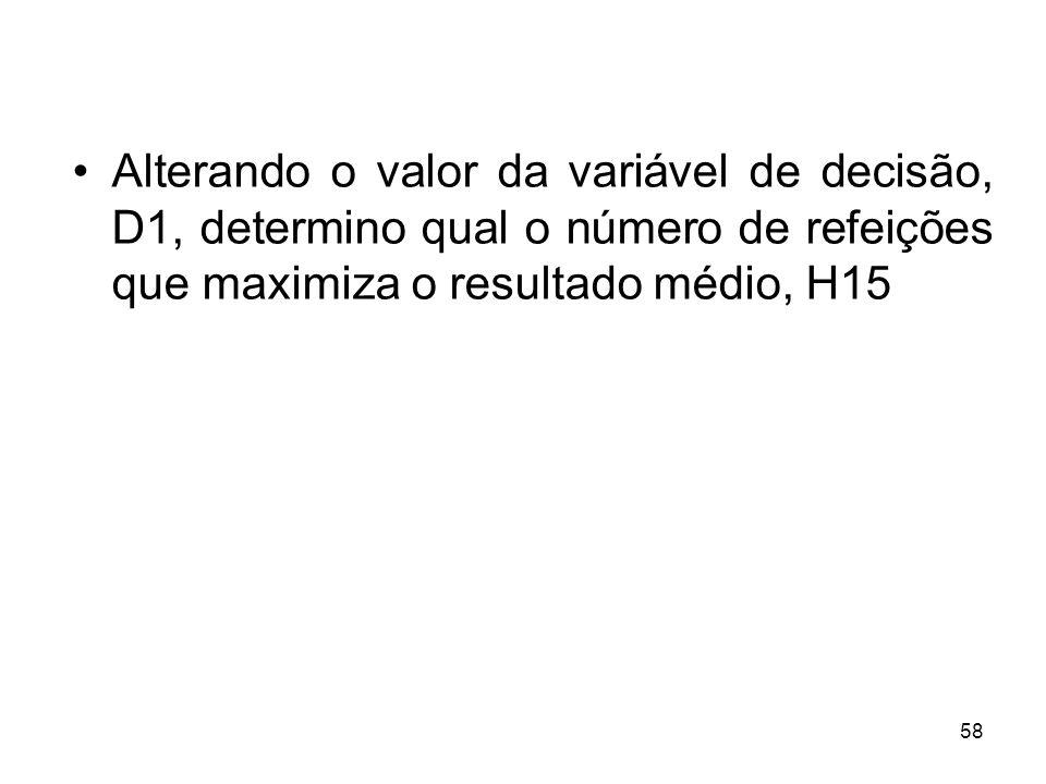58 Alterando o valor da variável de decisão, D1, determino qual o número de refeições que maximiza o resultado médio, H15