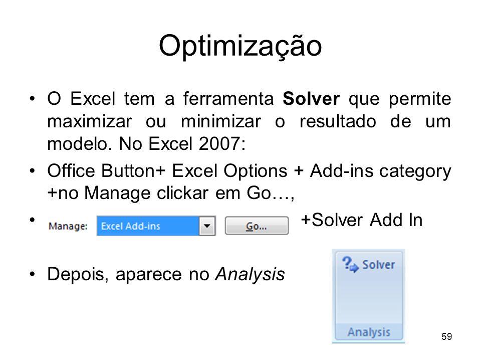 59 Optimização O Excel tem a ferramenta Solver que permite maximizar ou minimizar o resultado de um modelo.