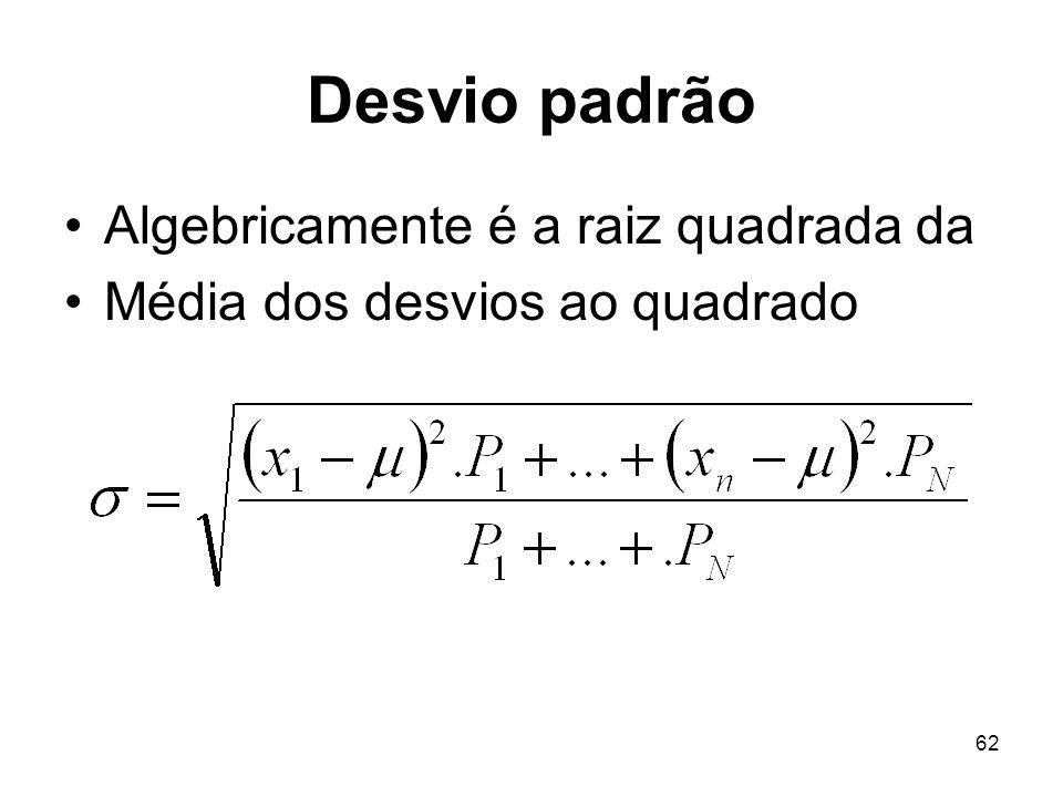 62 Desvio padrão Algebricamente é a raiz quadrada da Média dos desvios ao quadrado