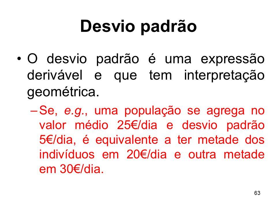 63 Desvio padrão O desvio padrão é uma expressão derivável e que tem interpretação geométrica.