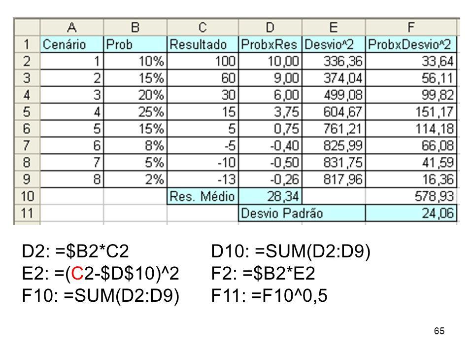 65 D2: =$B2*C2D10: =SUM(D2:D9) E2: =(C2-$D$10)^2F2: =$B2*E2 F10: =SUM(D2:D9) F11: =F10^0,5