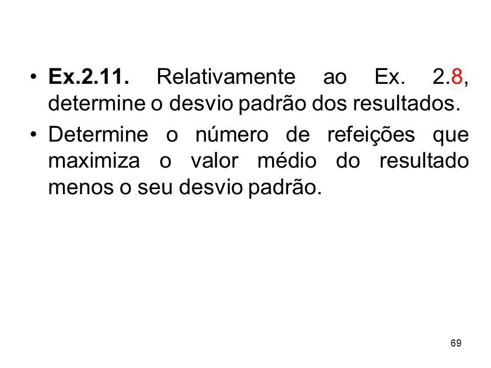 69 Ex.2.11.Relativamente ao Ex. 2.8, determine o desvio padrão dos resultados.