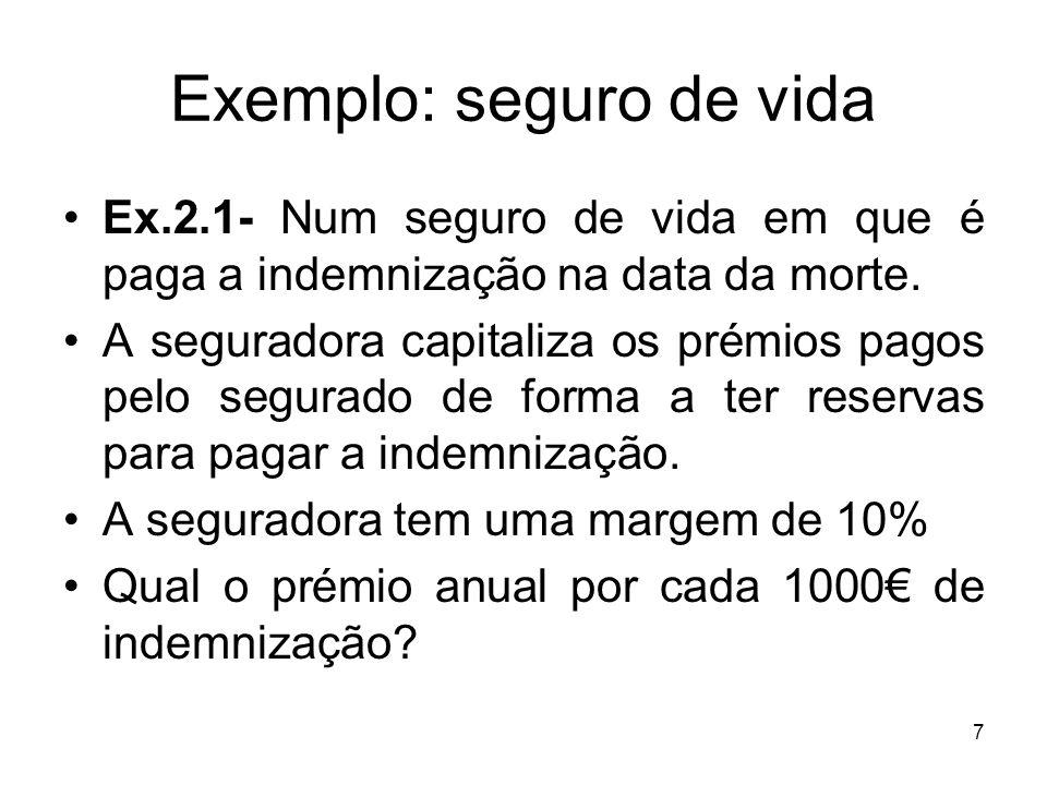 7 Exemplo: seguro de vida Ex.2.1- Num seguro de vida em que é paga a indemnização na data da morte.