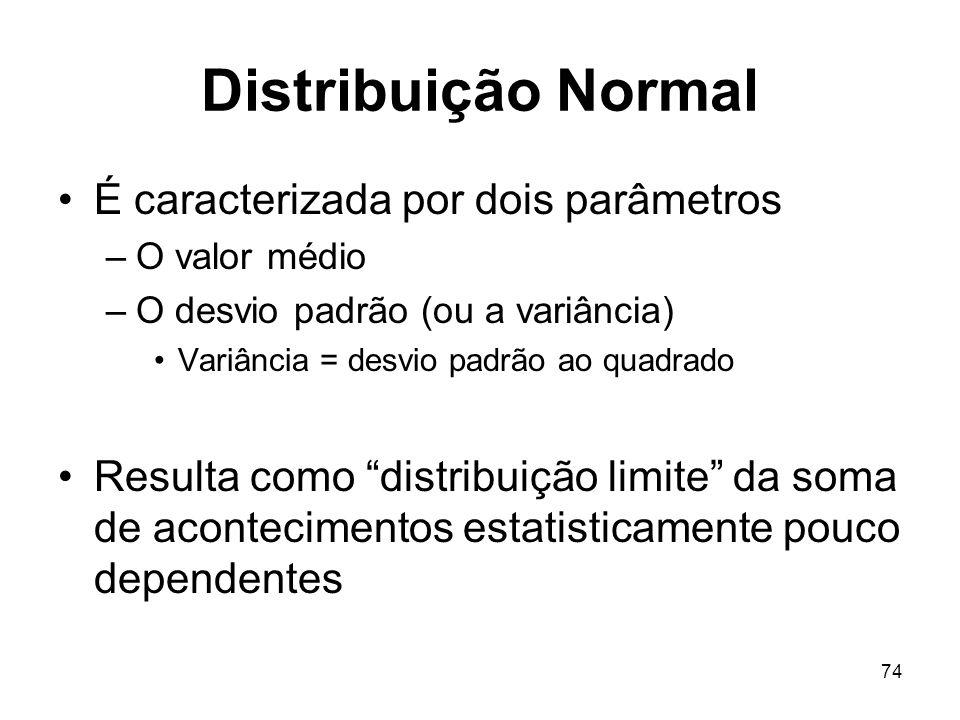 74 Distribuição Normal É caracterizada por dois parâmetros –O valor médio –O desvio padrão (ou a variância) Variância = desvio padrão ao quadrado Resulta como distribuição limite da soma de acontecimentos estatisticamente pouco dependentes