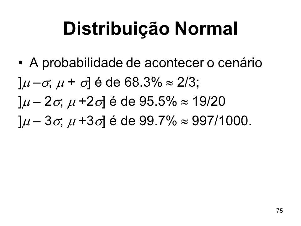 75 Distribuição Normal A probabilidade de acontecer o cenário ] – ; + ] é de 68.3% 2/3; ] – 2 ; +2 ] é de 95.5% 19/20 ] – 3 ; +3 ] é de 99.7% 997/1000.