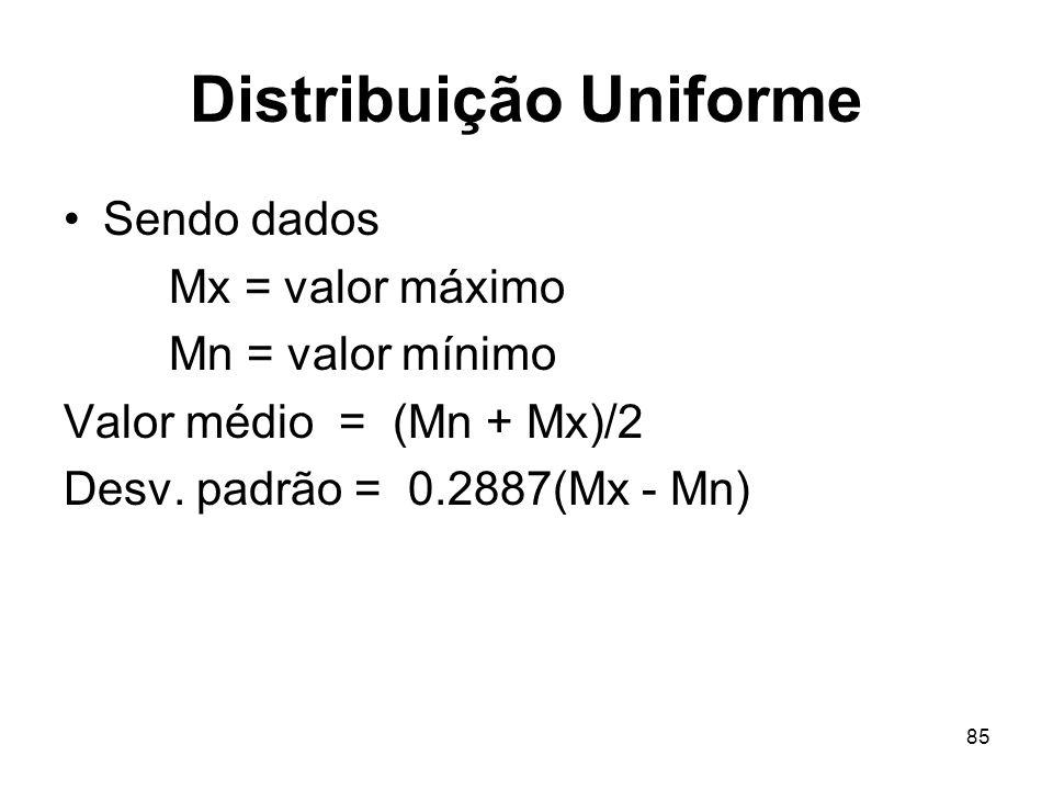 85 Distribuição Uniforme Sendo dados Mx = valor máximo Mn = valor mínimo Valor médio = (Mn + Mx)/2 Desv.