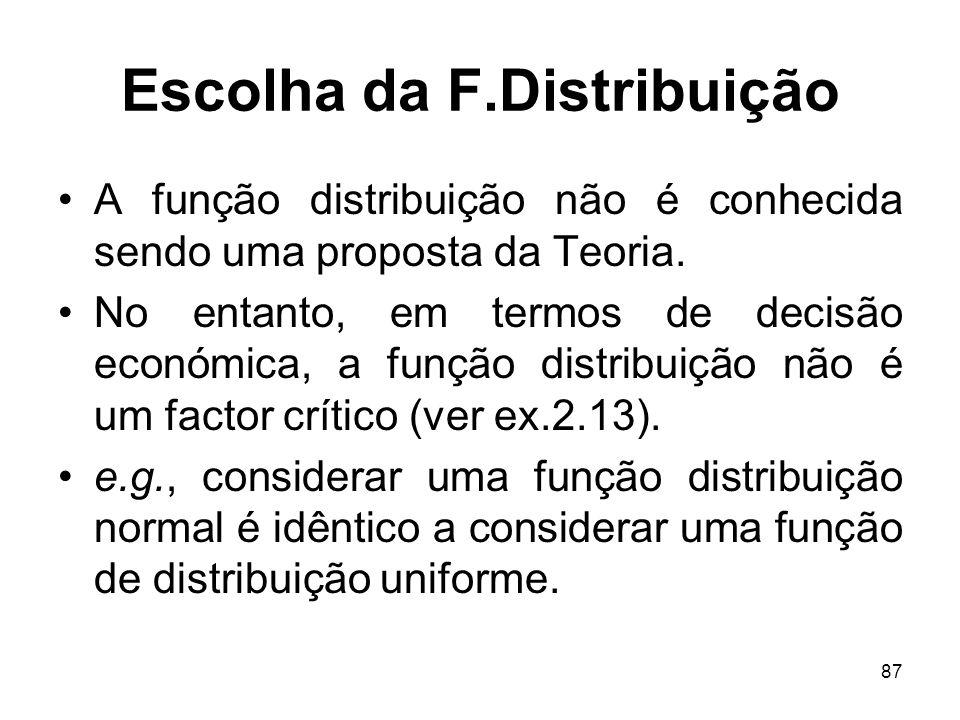 87 Escolha da F.Distribuição A função distribuição não é conhecida sendo uma proposta da Teoria.