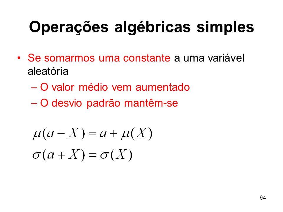 94 Operações algébricas simples Se somarmos uma constante a uma variável aleatória –O valor médio vem aumentado –O desvio padrão mantêm-se
