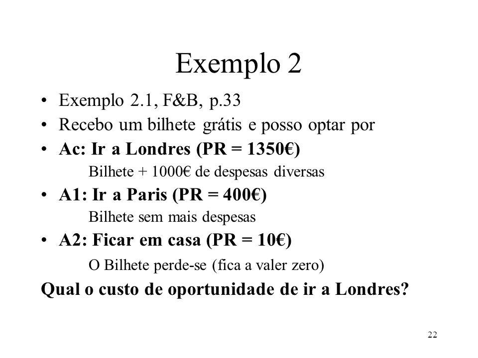 22 Exemplo 2 Exemplo 2.1, F&B, p.33 Recebo um bilhete grátis e posso optar por Ac: Ir a Londres (PR = 1350) Bilhete + 1000 de despesas diversas A1: Ir