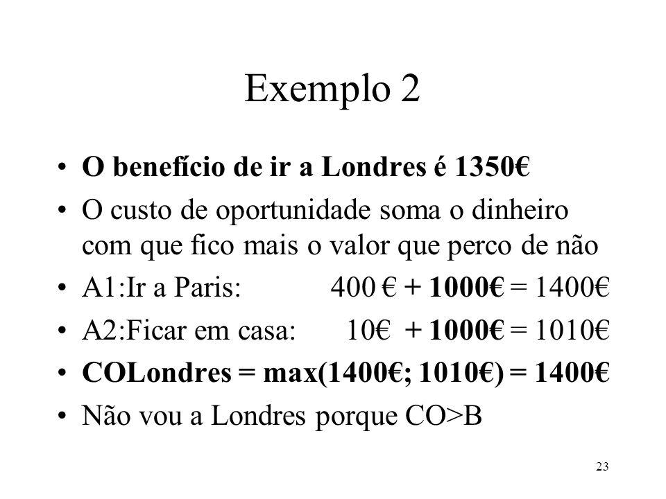 23 Exemplo 2 O benefício de ir a Londres é 1350 O custo de oportunidade soma o dinheiro com que fico mais o valor que perco de não A1:Ir a Paris: 400