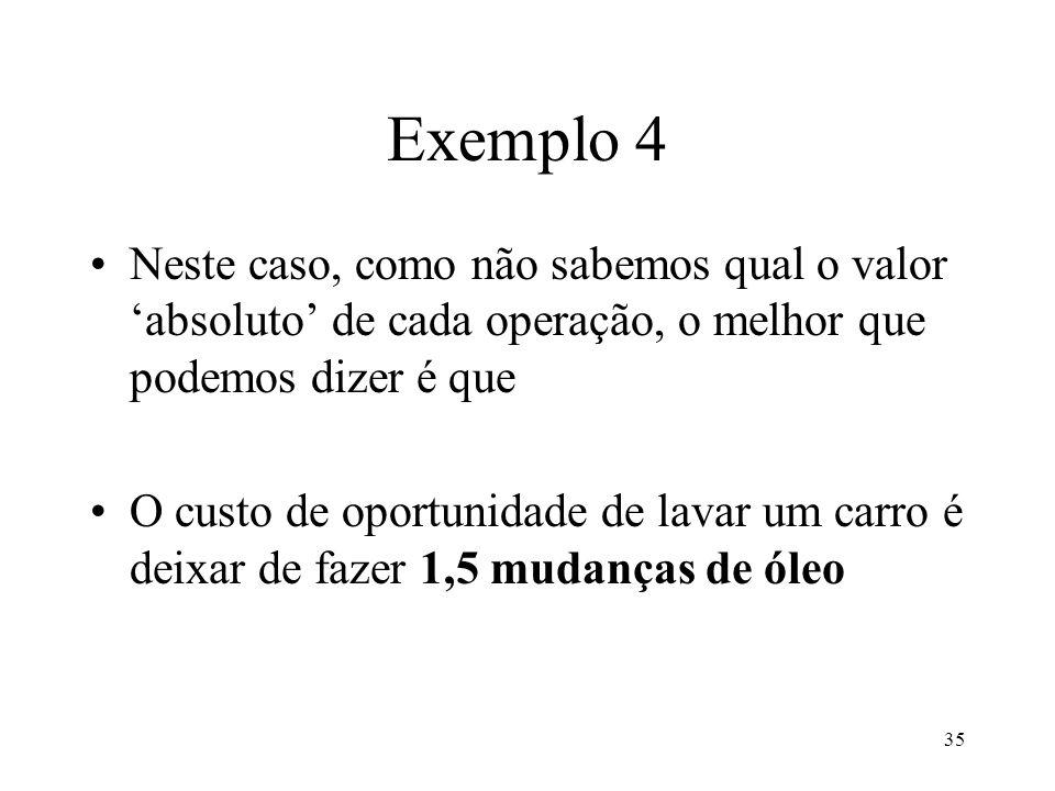 35 Exemplo 4 Neste caso, como não sabemos qual o valor absoluto de cada operação, o melhor que podemos dizer é que O custo de oportunidade de lavar um