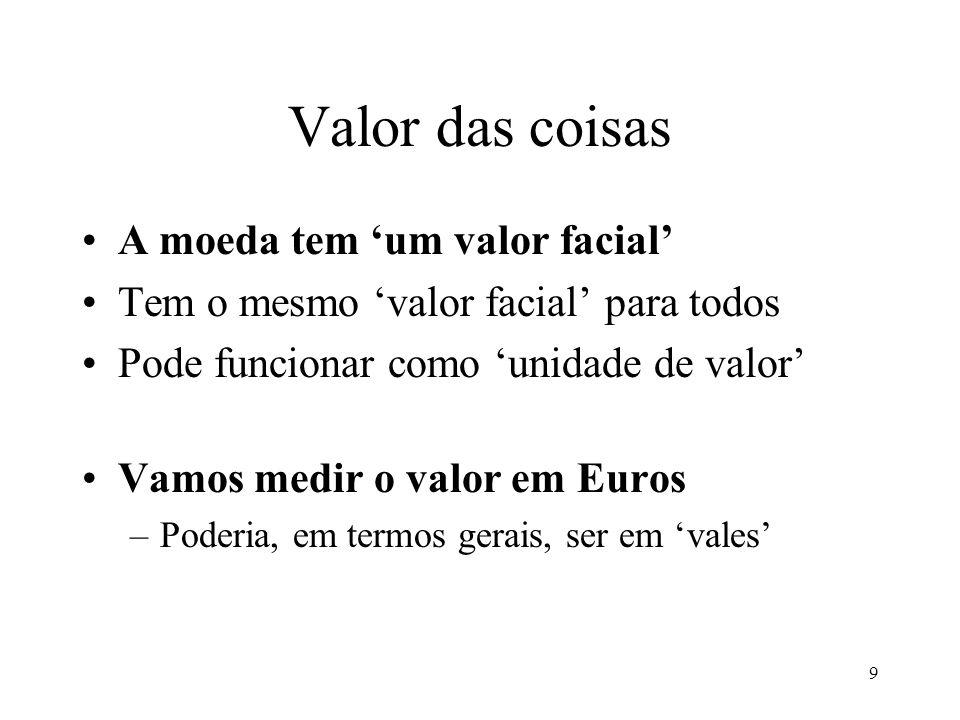 9 Valor das coisas A moeda tem um valor facial Tem o mesmo valor facial para todos Pode funcionar como unidade de valor Vamos medir o valor em Euros –