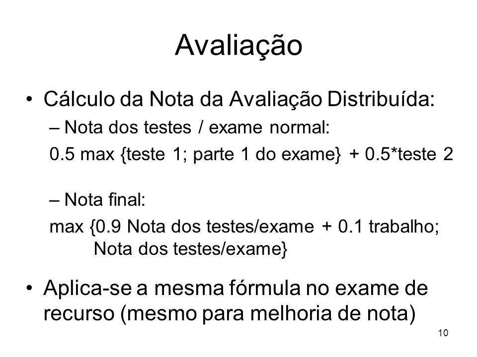 10 Avaliação Cálculo da Nota da Avaliação Distribuída: –Nota dos testes / exame normal: 0.5 max {teste 1; parte 1 do exame} + 0.5*teste 2 –Nota final: