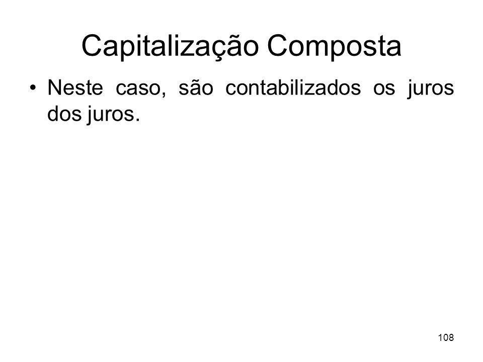 108 Capitalização Composta Neste caso, são contabilizados os juros dos juros.