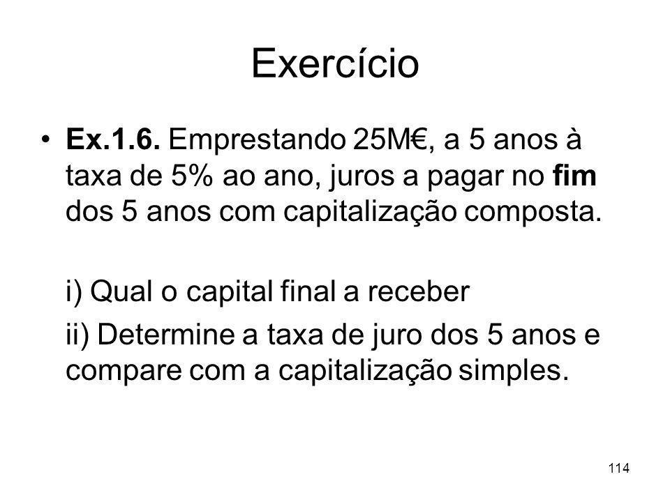 114 Exercício Ex.1.6. Emprestando 25M, a 5 anos à taxa de 5% ao ano, juros a pagar no fim dos 5 anos com capitalização composta. i) Qual o capital fin
