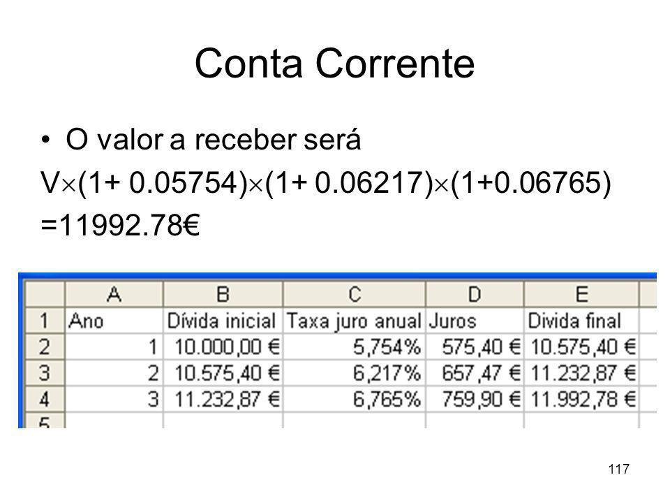 117 Conta Corrente O valor a receber será V (1+ 0.05754) (1+ 0.06217) (1+0.06765) =11992.78