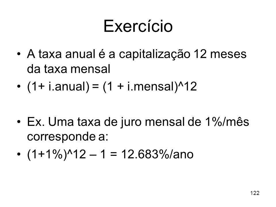 122 Exercício A taxa anual é a capitalização 12 meses da taxa mensal (1+ i.anual) = (1 + i.mensal)^12 Ex. Uma taxa de juro mensal de 1%/mês correspond