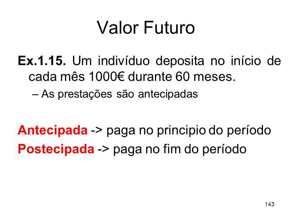 143 Valor Futuro Ex.1.15. Um indivíduo deposita no início de cada mês 1000 durante 60 meses. –As prestações são antecipadas Antecipada -> paga no prin
