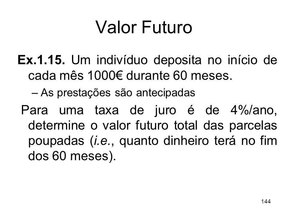 144 Valor Futuro Ex.1.15. Um indivíduo deposita no início de cada mês 1000 durante 60 meses. –As prestações são antecipadas Para uma taxa de juro é de