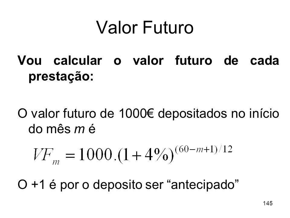 145 Valor Futuro Vou calcular o valor futuro de cada prestação: O valor futuro de 1000 depositados no início do mês m é O +1 é por o deposito ser ante
