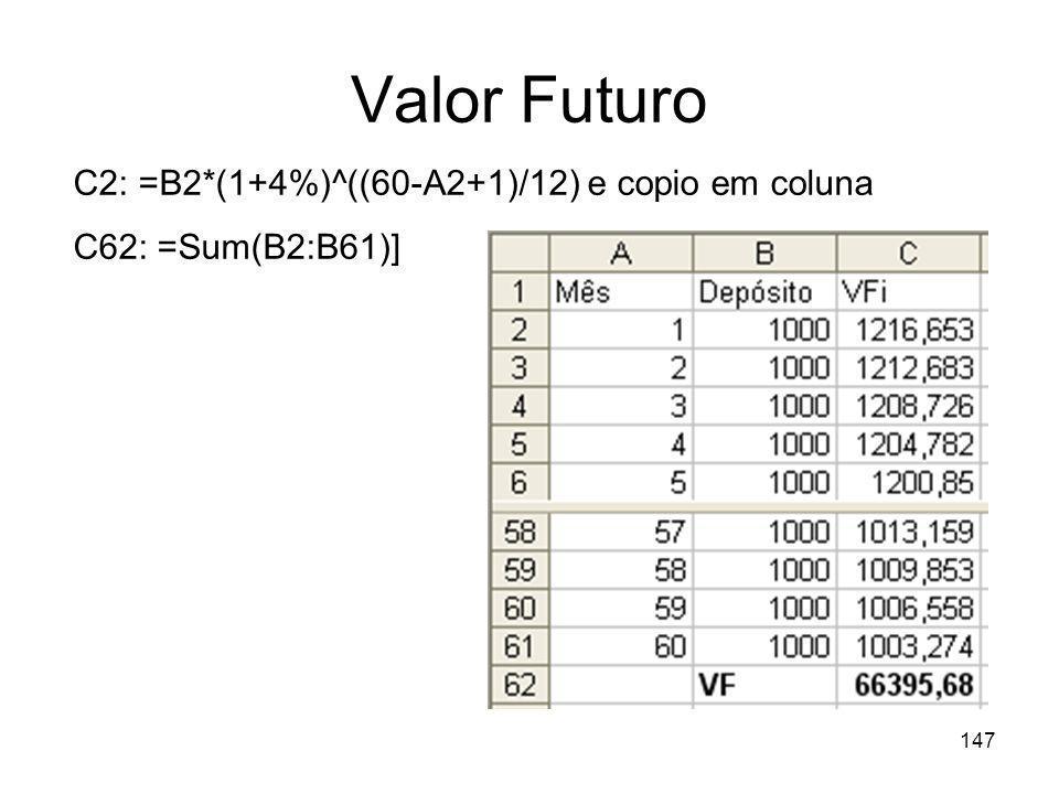 147 Valor Futuro C2: =B2*(1+4%)^((60-A2+1)/12) e copio em coluna C62: =Sum(B2:B61)]